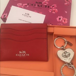 Coach wallet and Coach keychain in Coach box
